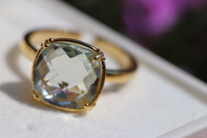 【宝石質/9号〜13号】Green Amethyst quartz ring