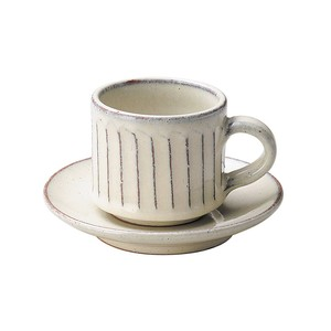 信楽焼 へちもん 白釉彫 コーヒー碗皿 MR-3-3281