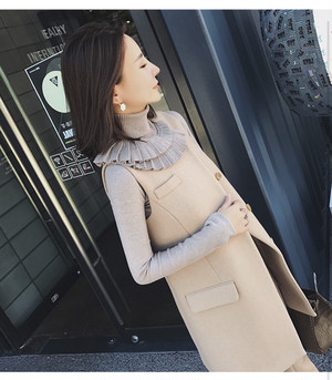 frill design turtleneck knit (beigebrown) (t_10)