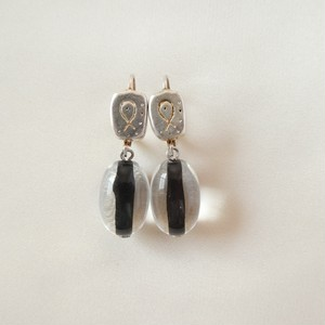 80s ヴィンテージ イヤリング silver and resin drop earrings
