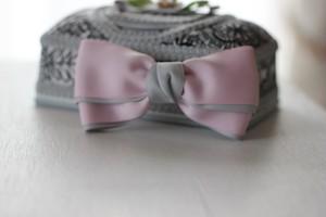 (春色ピンク)バイカラーリボンのヘアクリップ