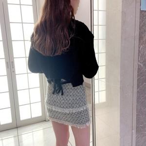 【即納】バックリボンクロップドニット+スケールフリンジミニスカートSET