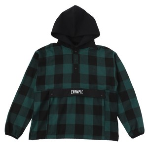 EXAMPLE HALF BUTTON BUFFALO CHECK PULLOVER L/S SHIRT / GREEN