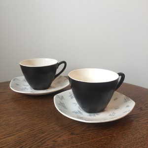 """Midwinter """"Monaco"""" demitasse cup and saucer by Jessie Tait"""