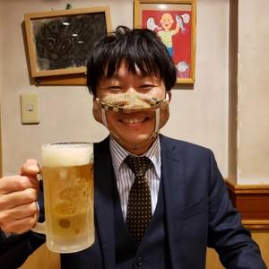 【特大サイズ】食事の時に使用するマスク!『デブノイートマスク』⑥岡山県児島デニム 6オンスムラ糸デニム (ブルー)  持ち運びも便利(マスクカバー付)【全国送料無料】