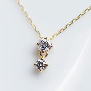 K18 華やかな2連ダイヤモンド ネックレス 0.15カラット
