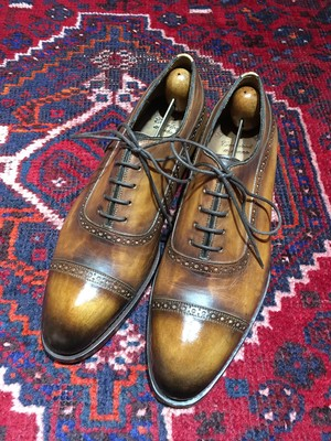 .MECCARIELLO LEATHER  QUARTER BLOGUE SHOES MADE IN ITALY/メッカリエロレザークォーターブローグ(パンチドキャップトゥ)2000000030784