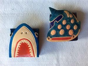 サメ2種☆山羊本革レザーコインパース・小銭入れ