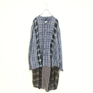 REMAKE LONG CHECK SHIRT(BLUE)