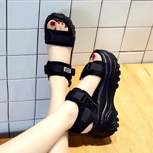 【シューズ】春夏韓国系ファッションカジュアル丸トゥ厚底マジックテープサンダル