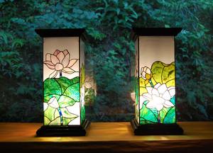 [割引中]蓮池望2灯セット(ステンドグラスの盆提灯)01020402_2
