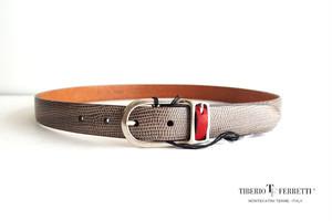 ティベリオ・フェレッティ TIBERIO FERRETTI リザード型押しベルト 1165 90 グレイ