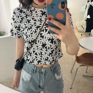 クロップドフラワー柄タイトTシャツ S4110