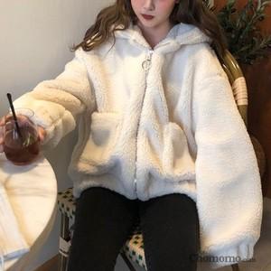 【アウター】韓国系無地長袖切り替えフード付きジッパーカーディガン23331089