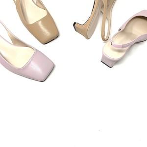 Square set back heel BB Pumps |スクエアトゥ・バックオープンパンプス| #kr0017