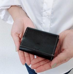 オトナのお財布 三つ折り 財布 プチ 本革 レザー ダーク ブルー