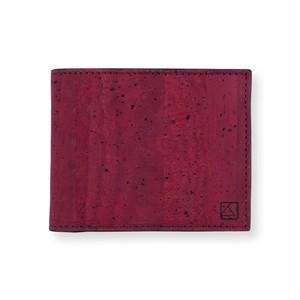 VEGAN MEN'S COIN WALLET  MAROON / 二つ折り財布 マルーン&ブラック コルク製 小銭入れ付き