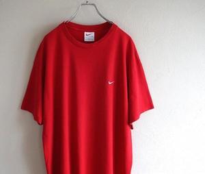 1990's USA製 [NIKE] ワンポイント刺繍Tシャツ ヘヴィーウェイト レッド 表記(XL) ナイキ