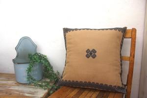 手織り 織物クッションカバー/ララインサール村 シャンパンブラウン×グレー