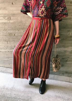 Vintage brown mix print rayon long skirt ( ヴィンテージ ブラウン ミックス柄 レーヨン ロングスカート