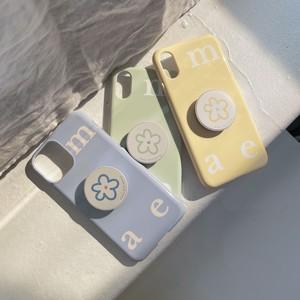 [mucu&ebony] ロゴ ソフト iPhoneケース& flower スマホグリップ セット (Apple Mint)
