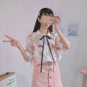 【tops】プリントファッション配色シャツ19309097