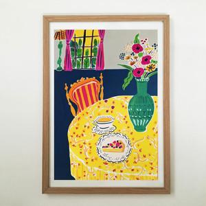 原画「黄色いテーブルクロスのある部屋」A3 フレーム付き