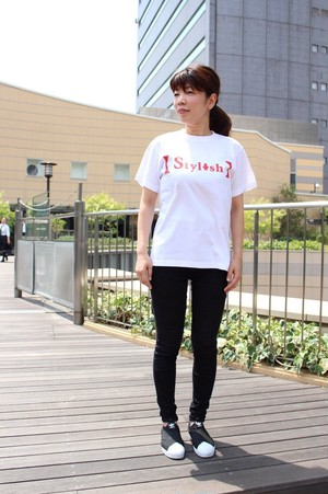 Stylish スタイリッシュ 文字大 半袖 白Tシャツ