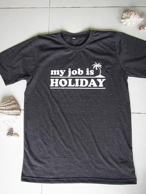 ロンボク Tシャツ my job is holiday tree dark gray