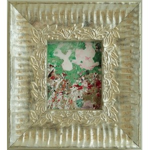 「雨」 段ボールにアクリル * 現代アート 絵画 抽象画 ミニ額 フレーム 内野隆文 takafumiuchino