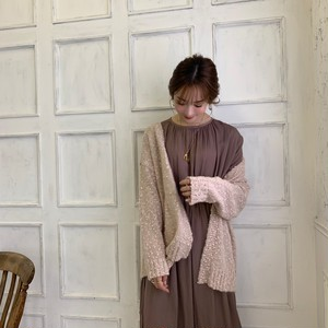 【50%OFF SALE】pokopoko knit cardigan / pink beige (即納)