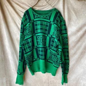 green × black retro knit/緑のレトロニット