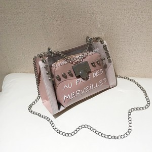 【bag】Transparent  shoulder rivet Messenger chain shoulder bag