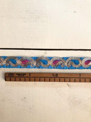 【NEW】Ribbon シルバーの勾玉模様 /スカイブルー