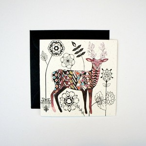 Mini Card - Deer and Flowers