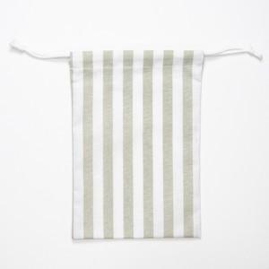 【annas Original】刺繍用きんちゃく カーキ/ストライプ