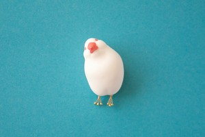 かしげ文鳥ブローチ[white]