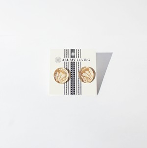 博多織樹脂ピアス (RP-20)金 ゴールド レジン 和装 着物 博多献上