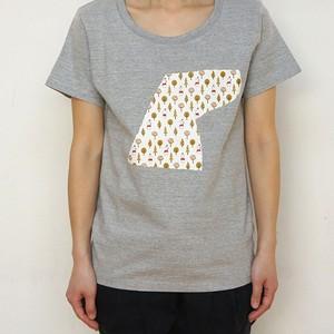 レディースTシャツ(黒/グレー)いしカバくんボタニカル柄