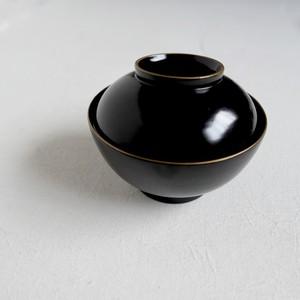 【30986】輪島塗 金縁 黒椀 明治 S (1個) / Wajima Nuri Wan Black Bowl S / Meiji Era