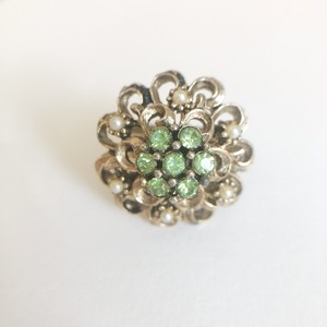 green rhinestone design ring #13[r-147] ヴィンテージリング