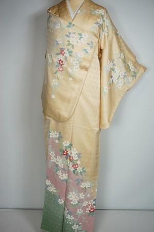 美品 友禅 金駒刺繍 花柄 訪問着 正絹 黄色 ピンク 397