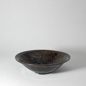 田村文弘|鉄釉印花鉢(小) iron-glazed embossed-flower-pattern bowl(small)