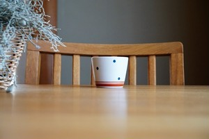 砥部焼/ミニそば猪口/水玉・赤ライン/すこし屋