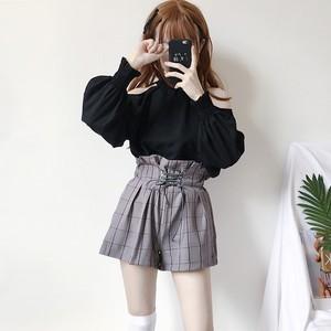 【セットアップ】ファッションオープンショルダシャツ+ボウタイワイドレッグパンツ 2点セット