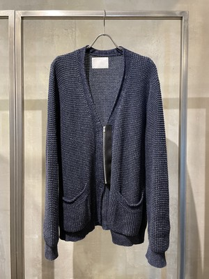 TrAnsference zip loose fit cotton waffle knit cardigan - combined blue