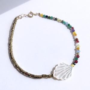 K10YG Mother of Pearl x Pyrite x Multi Jade Bracelet / チャリティージュエリー