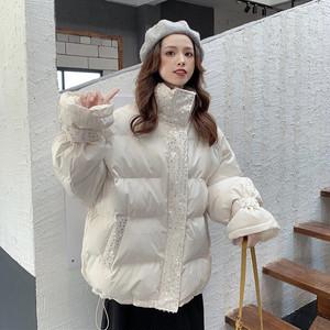 【アウター】人気ファッションサイトスタンドネックラメ入りダウンコート24490431