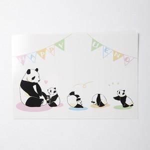 でんぐり子パンダ親子ポストカード