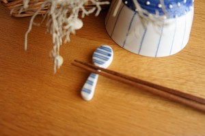 砥部焼/箸置き(スプーン型)/ボーダー/皐月窯